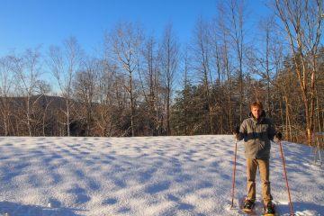 Snowshoeing Across Lake Fairlee, Vermont