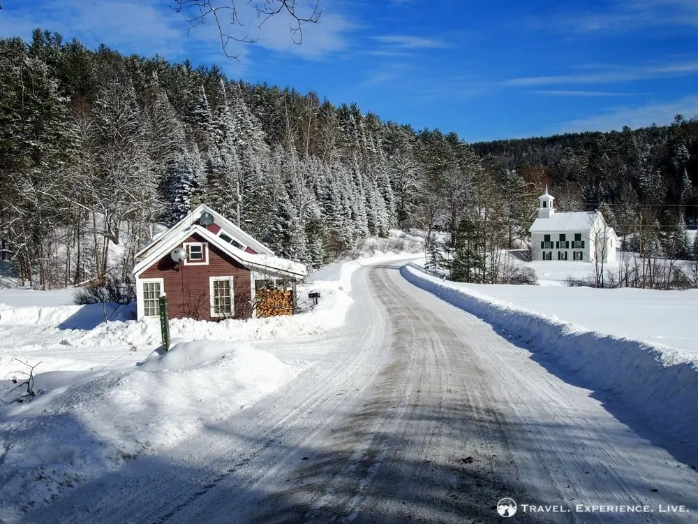 Snowy country road in the mountains of Vermont