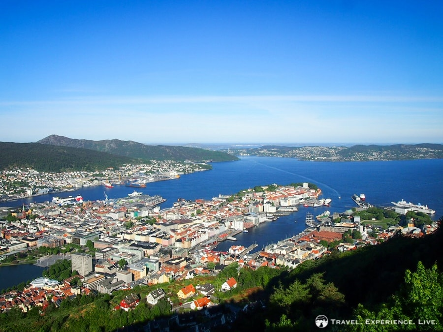 View of Bergen, Norway, from one of the surrounding hills