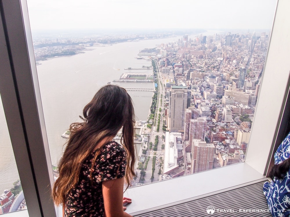 Caroline Looking Out Over the Hudson River, One World Trade Center