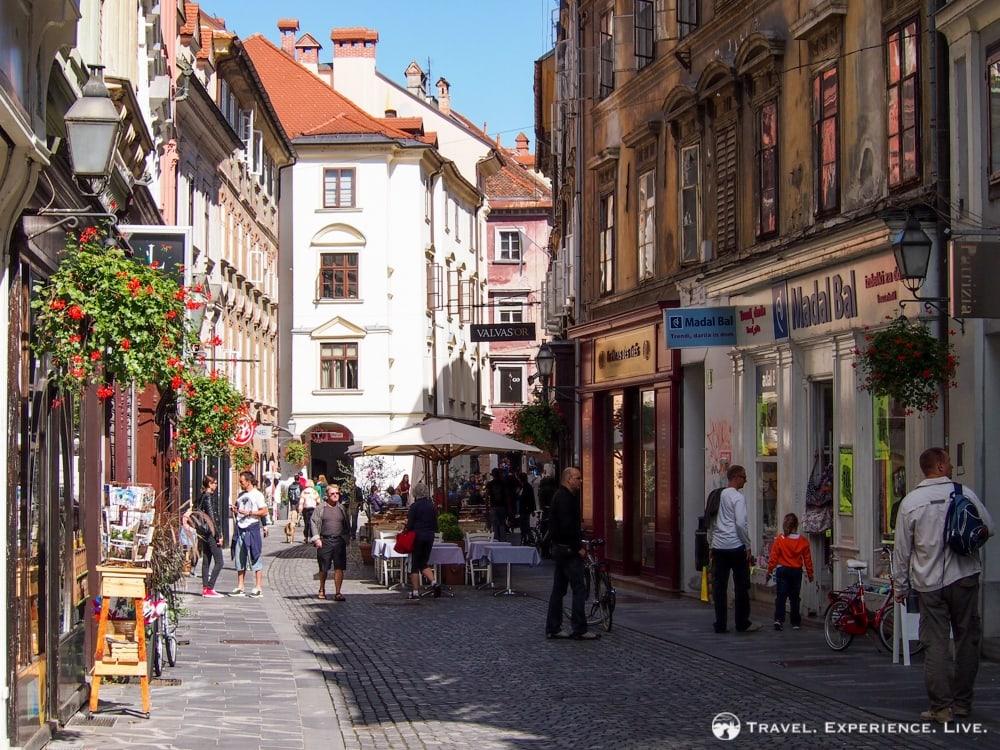 Lively street in Ljubljana, Slovenia