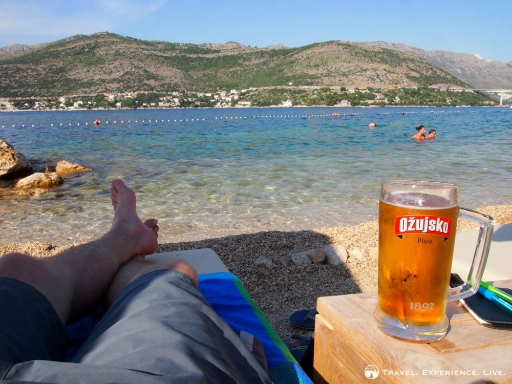 Beer at the beach in Dubrovnik, Croatia
