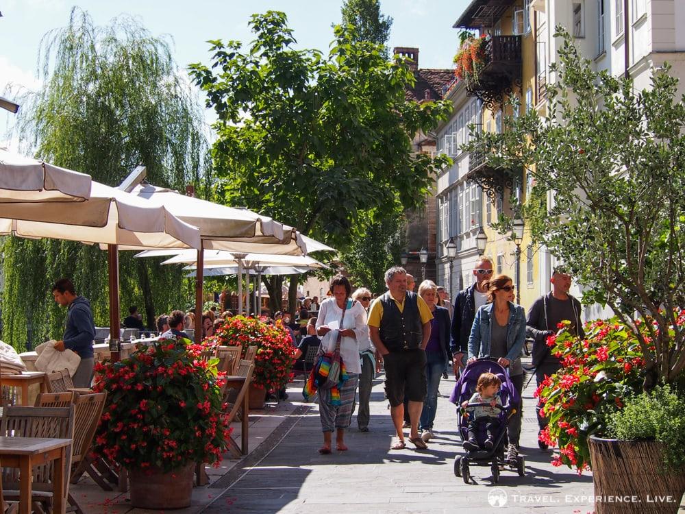 Family walking in Ljubljana, Slovenia