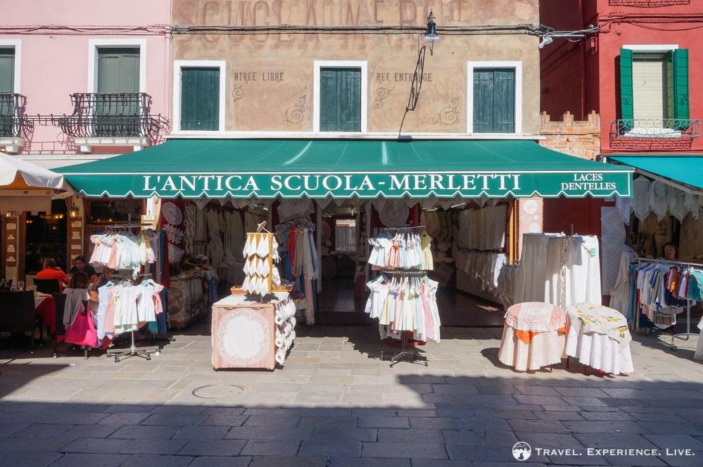 Visit Burano: Lace shop in Burano, Venice