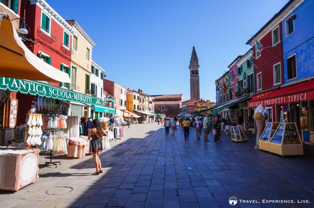 Visit Burano: Town square in Burano