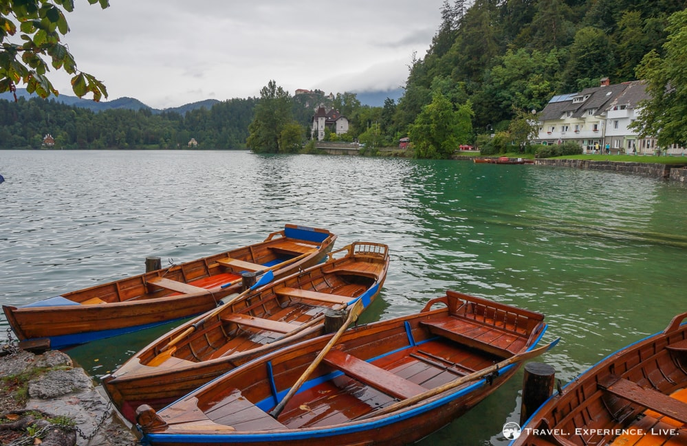 Wooden boats on Lake Bled