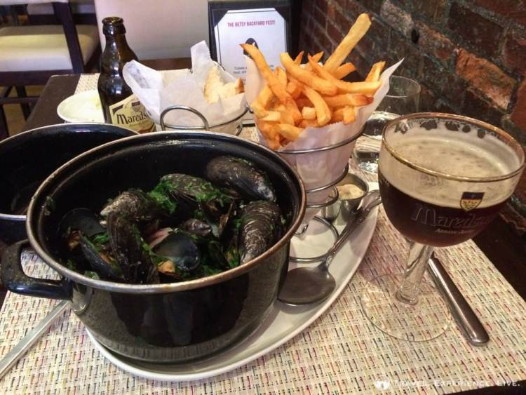 Mussels and fries at Belga Café, Belgian restaurant in Washington D.C