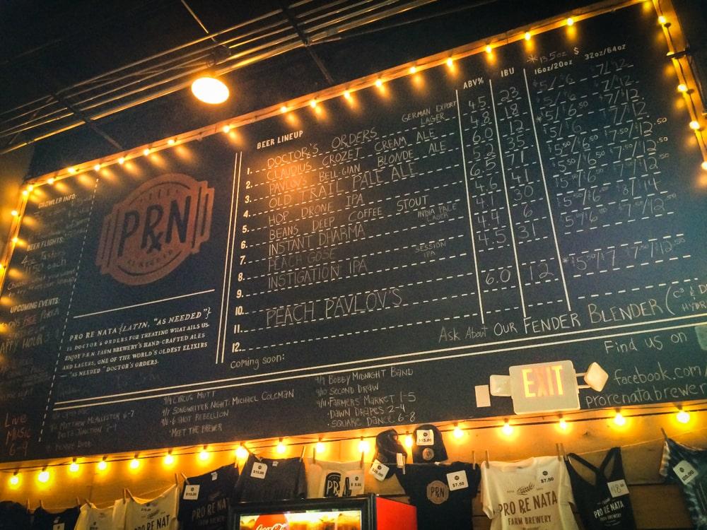 Beer menu, Pro Re Nata Farm Brewery