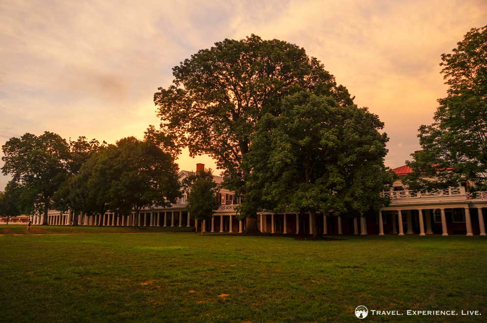 Sunset over the Academical Village at the University of Virginia