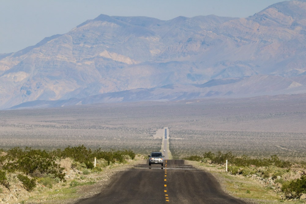 Desert road in Death Valley National Park, one of the Southern California desert parks