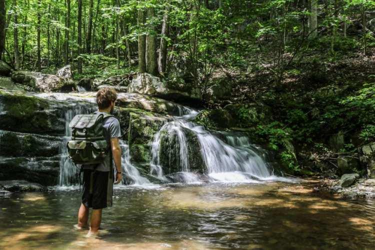 Backpacker at Hogcamp Branch, Shenandoah National Park
