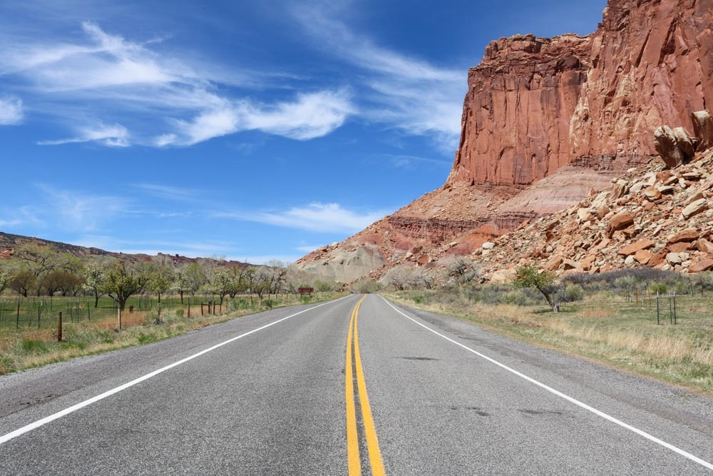Highway 24 in Capitol Reef National Park, Utah