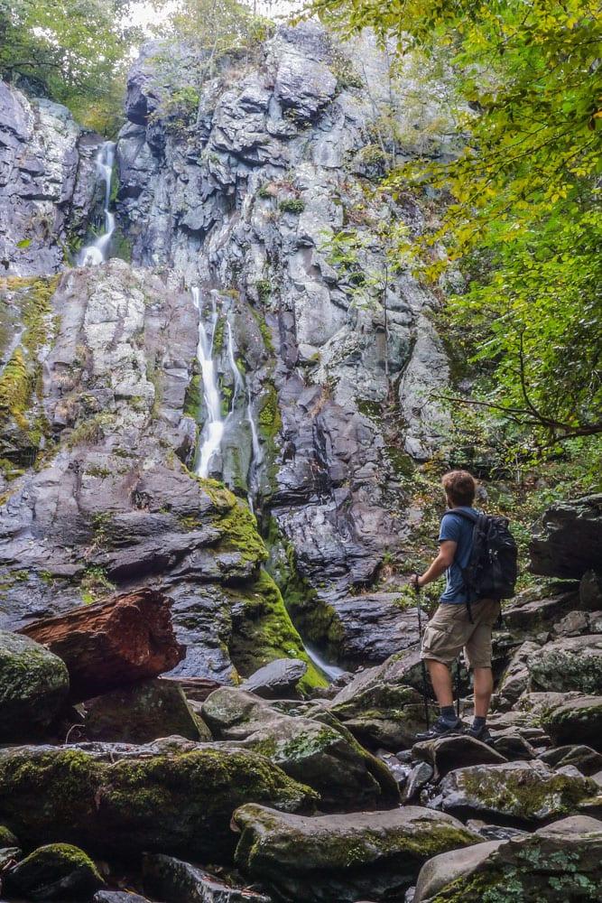 Hiker at South River Falls, Shenandoah National Park, Virginia