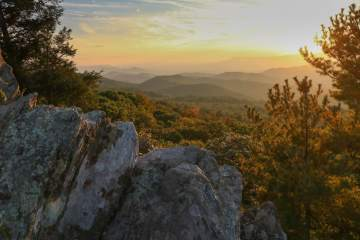 The Point Overlook Sunset on Skyline Drive in Shenandoah National Park