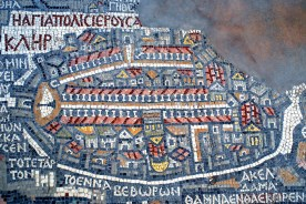 Madaba - Jordan: Map of Jerusalem - displaying the Golden, Dung, Zion,  Jaffa, St. Stephen's and Damascus gates, city walls, Church of the Holy  Sepulchre, Temple Mount, the Cardo... - Mosaic map