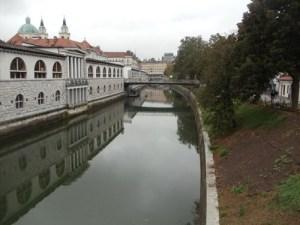 The view from Ljubljana Dragon bridge towards Prešeren square - Ljubljana city center
