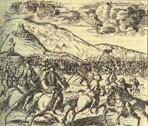 Valvasor copper engraving: Battle at Cold river