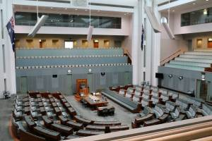 The Australian Parliament's lower house, the House of Representatives. Apparently the seats are a different shade of green to those in the House of Commons to represent Australia's political independence from the UK. No comment.