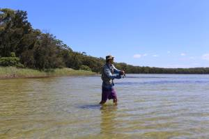 Fishing with Nik in the shallow waters of St George's basin