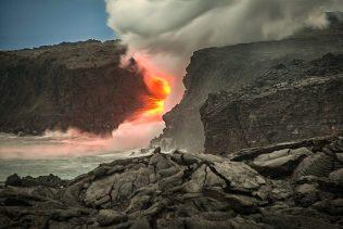 Lava entering the ocean in Kalapana Hawaii