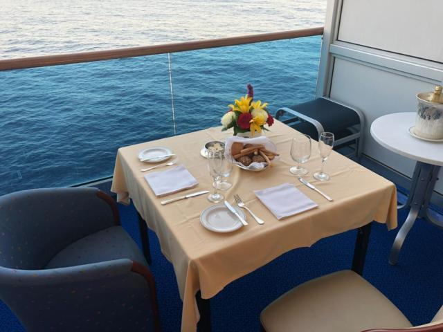 Ultimate Balcony dinner on a cruise ship