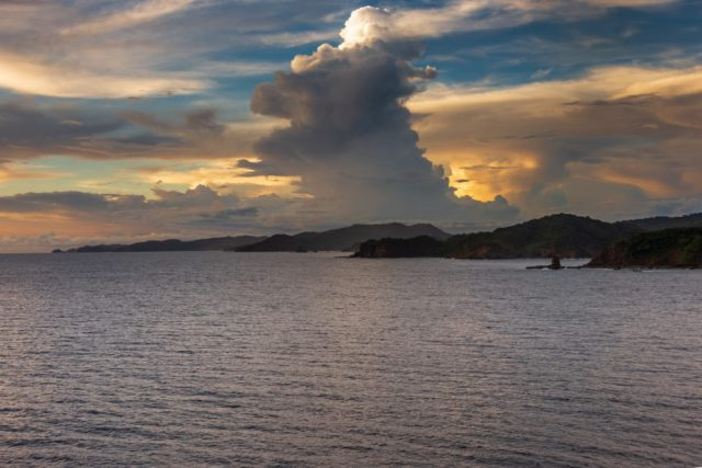 Sunset Nicaragua Leaving by Cruise Ship