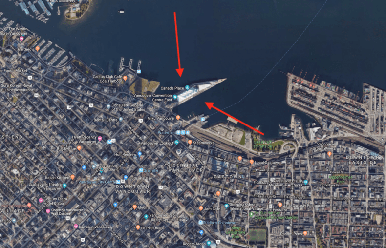 Cruise ship terminal of Vancouver BC map