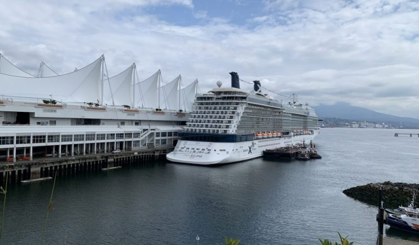 A cruise ship at the terminal in Vancouver BC