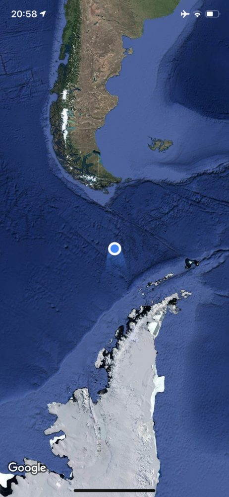 Google Map showing our current location Cruising to Antarctica