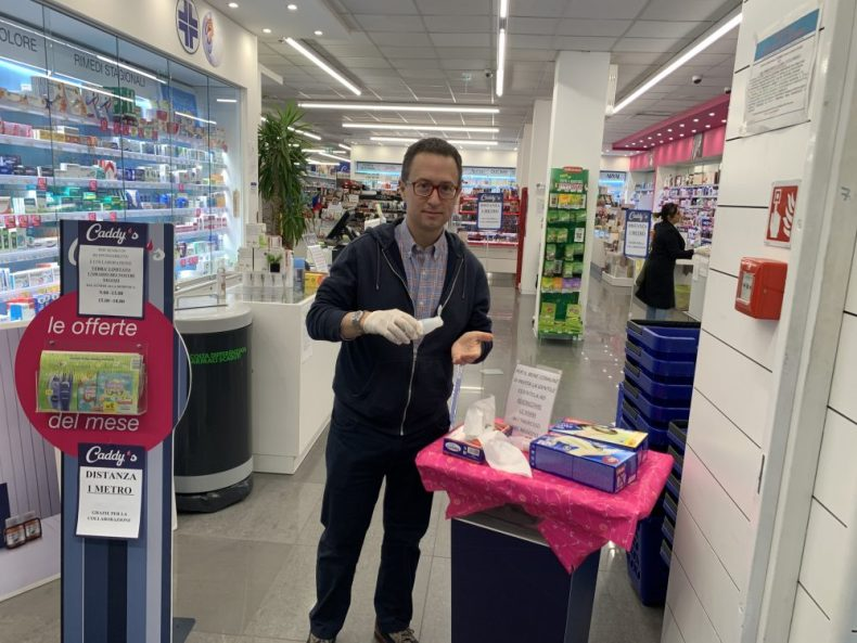 Rick at the Pharmacy, sanitizing his hands - what its like to live in quarantine and lockdown conditions in italy