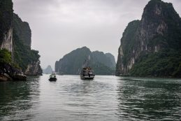 Narrow passage in Ha Long Bay Vietnam