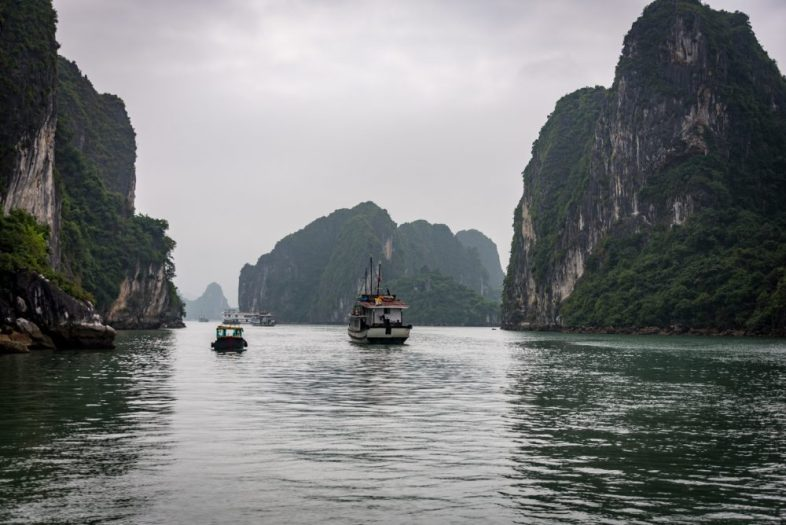 Narrow passage in Ha Long Bay Vietnam