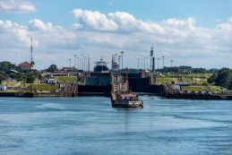 The Gatun Locks from the Atlantic Side