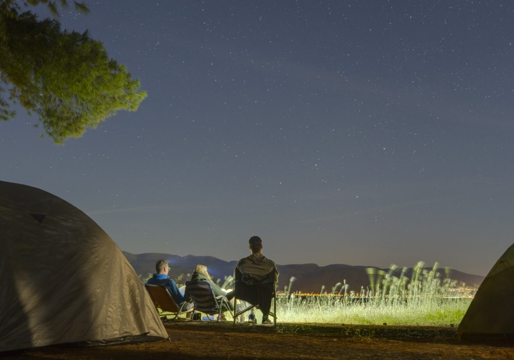 camping, tent, sky view, city view