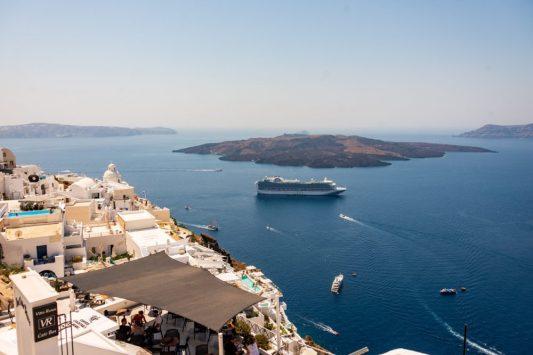 Santorini Caldera - Emerald Princess Cruise ship in the Mediterranean