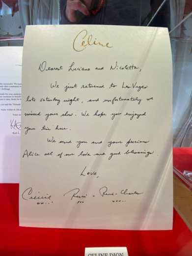 Celine Dion writing to Pavarotti