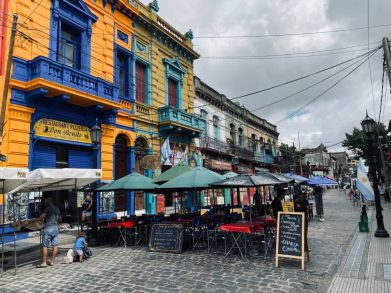Very colourful buildings found in La Boca, Buenos Aires - on our Cruise to South America