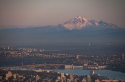 Sunset overlooking Mt Baker and Vancouver from the lookout