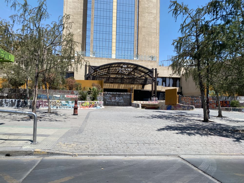 Crowne Plaza Destroyed by Protesters in Santiago - January, 2019 - Hopefully not an omen on our cruise to Antarctica and South America