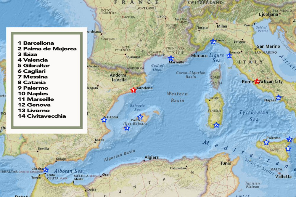 Ports in the Western Med