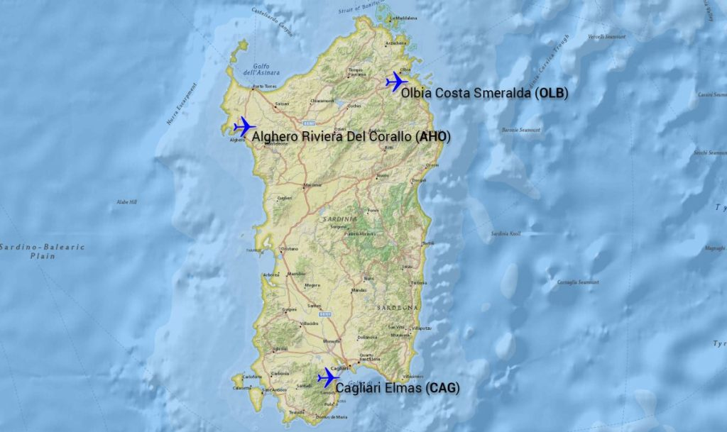 a map of sardinia along with the main airports to fly in to