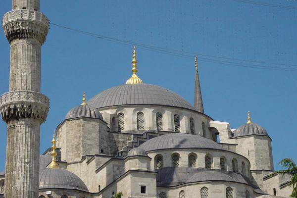 Image of Istanbul, Blue Mosque: domes from outside, Istanbul, Turkey