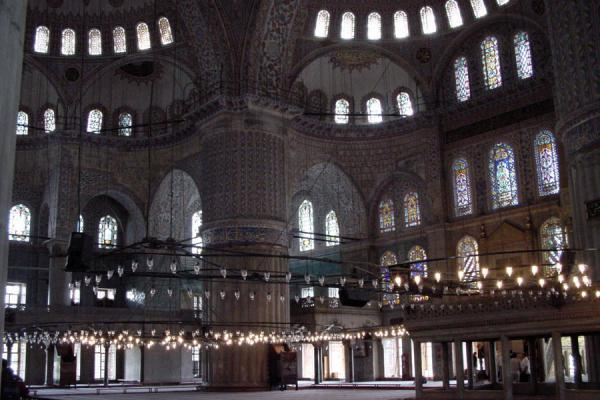 Image of Blue Mosque: interior with many windows giving light, Istanbul, Turkey