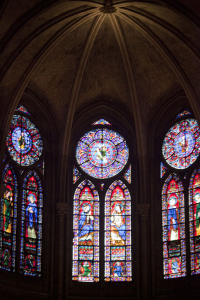Picture of Religious scenes hand-painted on these tall stained-glass windows