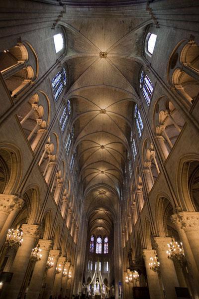 Imagine de vedere spre altarul din interiorul catedralei Notre Dame