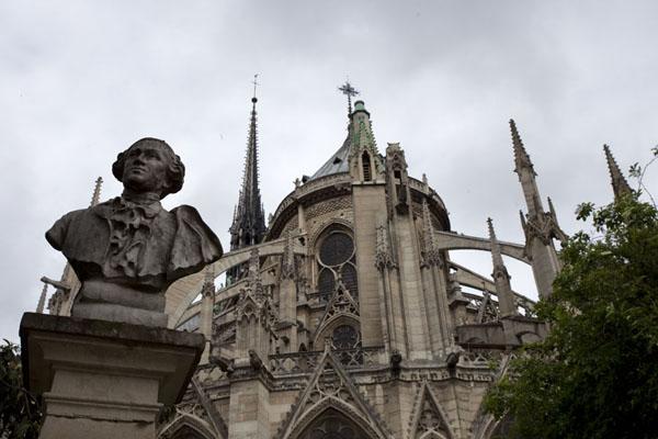Imagine a vederii din Notre Dame din Paris din partea de est