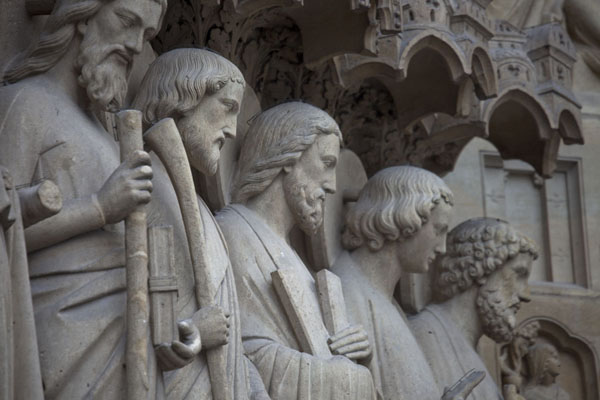 Picture of Statues of apostles at the Portal of the Last Judgment at the western side of the Notre Dame