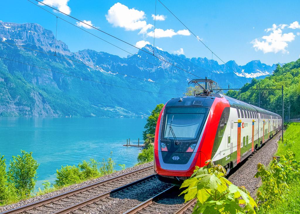 train by the lake, switzerland