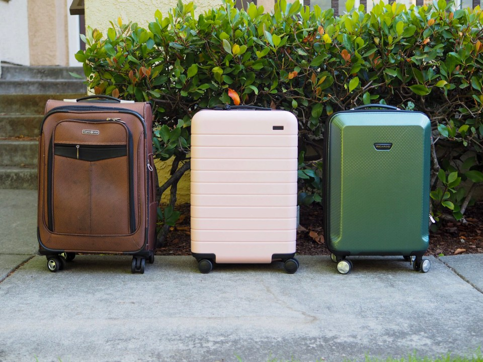 Samsonite, Away Bigger Carry-On, and Ricardo luggage sizes compared from the side