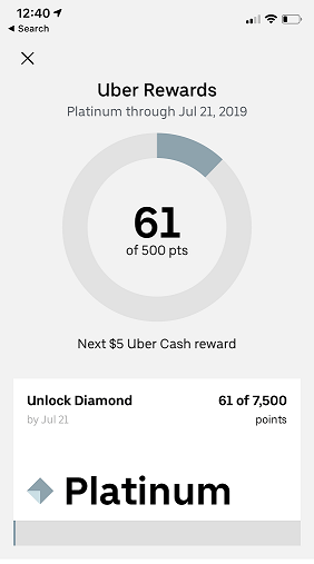 Uber Rewards Loyalty Program App Screenshot of Platinum Status